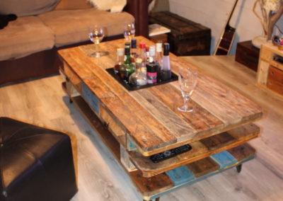 table basse en bois recyclé, utilisation