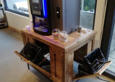 meuble pour machine à café, ouvert