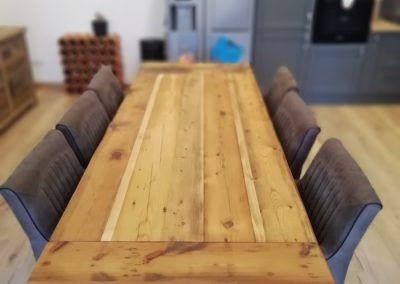 table à manger en bois et fer avec rallonge