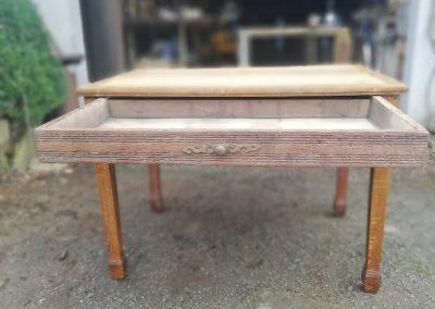 table en chêne upcyclée,tiroir