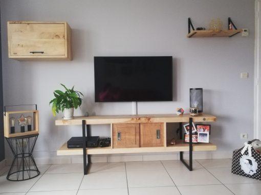 Ensemble meubles tv en bois recyclé