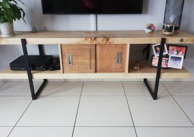 ensemble meubles tv en bois recyclé, banc tv