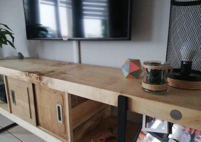 ensemble meubles tv en bois recyclé, détail du banc tv