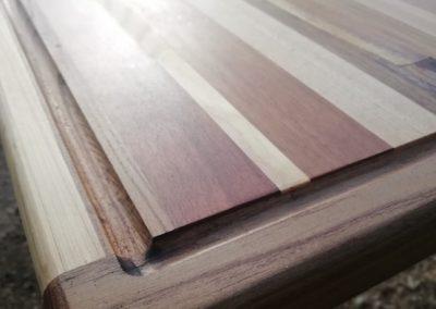 plan de travail en patchwork de bois recyclé, coin