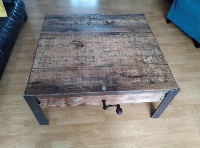 table basse industrielle, plateau